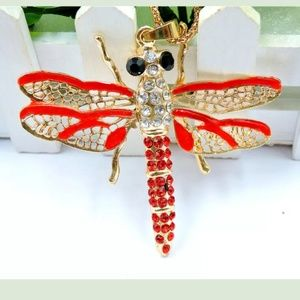 Jewelry - Red Enamel & Cryatal Gold Dragonfly Necklace